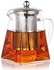PluieSoleil Dzbanek do zaparzania herbaty, szklany z wyjmowanym sitkiem ze stali szlachetnej, 700 ml
