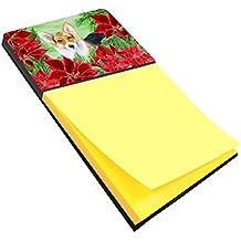 Caroline's Treasures Pembroke Corgi Poinsettas Sticky Note Holder, Multicolor (CK1291SN)