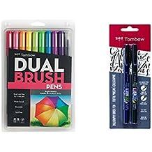 Tombow (10-Pack) Dual Brush Pen Art Markers, Bright + Tombow (2 Pens Set) Fudenosuke Brush Pen