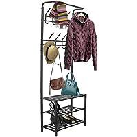 Sorbus Coat Shoe Racks Bench - Hallway Entryway Coat Rack Storage - Shoe Bench Organizer Features 18 Hooks 3-Tier Shelves, Metal (Coat Rack - Black)