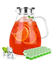 Glass Pitcher - 880Z Water Pitcher with Lid and Spout - Bonus Ice Cube Tray Comes - Iced Tea Drinks Carafe - Milk Fruit Juice Lemonade Beverage for Freezer - Precise Scale Line Design - BPA &Lead-Free