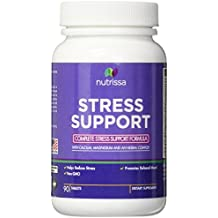 Stress and Anxiety Relief Supplement - Vitamins B and C, Calcium, Magnesium, PABA, Pantothenic Acid, Folic Acid, Hops, Chamomile, Valerian, and Passion Flower - 90 Tablets