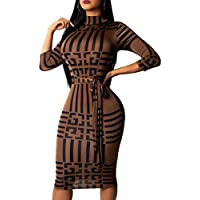 Women Sexy Bodycon Dress Stretchable V-Neck Long Sleeve Slim Fit Business Pencil Suiting