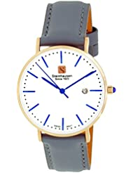 Steinhausen Womens S0622 Classic Burgdorf Swiss Quartz Stainless Steel Rose-Gold Watch With Grey Leather Band