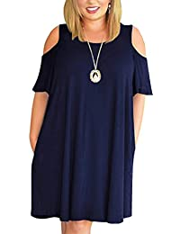 Womens Cold Shoulder Plus Size Casual T-Shirt Swing Dress with Pockets