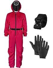 Wtky Kinderen Squid Game Kostuum Jumpsuit Rode Outfit met Belt Handschoenen Masker Halloween Cosplay Kostuums Bodysuit Voor Jongens Meisjes