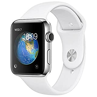 Apple Watch Series 2 (GPS, 42MM) - Stainless Steel Case with White Sport Band (Renewed)