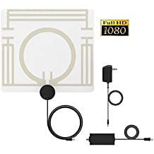 4K HDTV Antenna,Ancable Amplified Digital Indoor TV Antenna for VHF/UHF Channels,Transparent Paper Thin,50 Miles Range with Amplifier Signal Booster and UL Certificiated Power Supply,High Performance