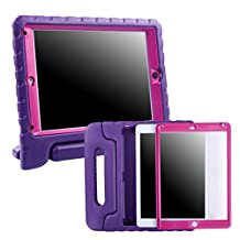 HDE iPad Mini 1 2 3 Bumper Case for Kids Shockproof Hard Cover Handle Stand with Built in Screen Protector for Apple iPad Mini 1st 2nd 3rd Generation (Purple Pink)