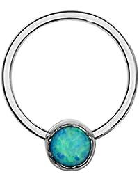 Septum Ring - Conch Piercing - Septum Jewelry - Sterling Silver 20 Gauge 8mm Hoop 3mm Blue Opal