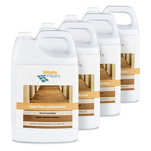 Simply Floors FLC-00043 Carpet Rinse and Neutralizer - [Pack of 4 - 1 gallon bottles] Professional, Industrial Strength Carpet Rinse and PH neutralizer with Floral Fragrance