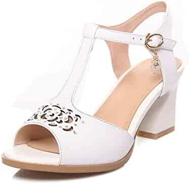 f0ddca135b82 AmoonyFashion Women s Kitten-Heels Soft Material Solid Buckle Peep Toe  Sandals