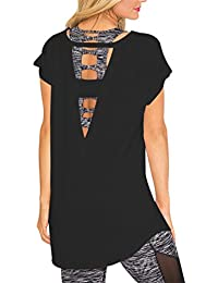 Women's Large V Cut Out Back Cap Sleeves Blouses Tops