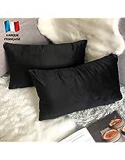 Douceur De Plumes Set van 2 fluwelen kussenhoezen 30x50 Zwart zachte en solide, vierkante decoratieve kussensloop voor sofa slaapkamer woonkamer (2 Zwart)