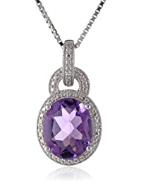 """Sterling Silver Amethyst and Diamond-Accented Pendant Necklace, 18"""""""