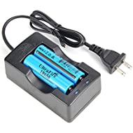 UltraFire Batteries 3.7V Rechargeable Li-ion 18-650 Battery 2200mAh Button Top with Charger (2 Pack)