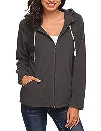 Meaneor Women's Full Zip Fleece Hooded Jacket Hoodie Coat Pockets