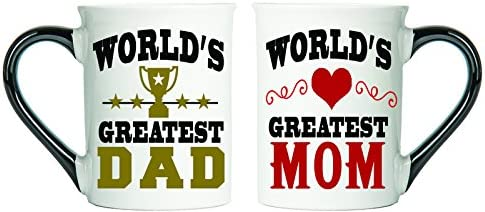 Tumbleweed World's Greatest Dad And World's Greatest Mom Coffee Mugs - Mom And Dad Gifts - Large 18 Ounce Coffee Cups