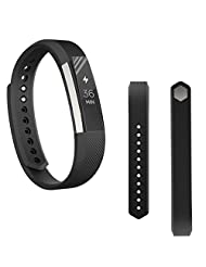 Fitbit Blaze Replacement Band, TOOPOOT Soft Wrist strap For Fitbit Alta Smart Watch + HD Protective Film (black)
