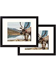 Frametory, Black Wood Grain Finish Looking Photo Frame with Ivory Color Mat for 4x6 Picture & Real Glass