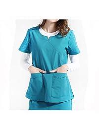 Medical Uniform Nursing Stretch Scrubs V Neck Medical Scrub Anti-Wrinkle Unisex Scrub Set Bundle Uniforms Set Top and Pants,Green,L