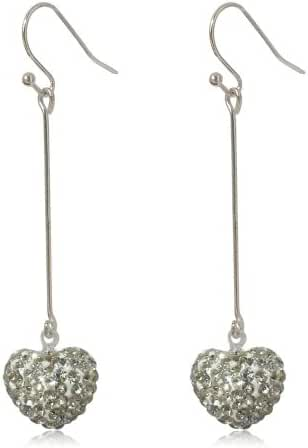 GiftJewelryShop 15MM Sterling Silver Plated White Heart Crystal Bead Dangle Earrings