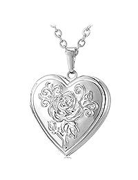 U7 Heart Necklace Women 18K Gold Plated Rose Flower Photo Locket Pendant