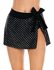 Halcurt Zwemshorts voor dames, korte rok, bikinirok, ingebouwde triangelbikinibroek, zwemrok, strandbikini
