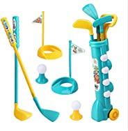 Kids Golf Clubs Set, Golf Toy with 1 Golf Cart, 4 Balls, 3 Cues,2 Tees, 2 Small Flags, Early Educational Outdo