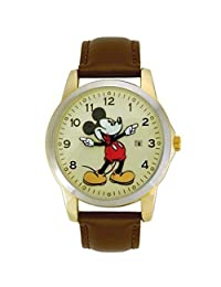 Disney Mickey Mouse MCK326 Unisex Gold Tone Leather Classic Moving Hands Watch