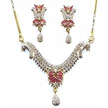 Shingar Jewelry Ksvk Jewels Cubic Zirconia (CZ) Tanmania Pendant Set For Women (9932-psad-ruby)