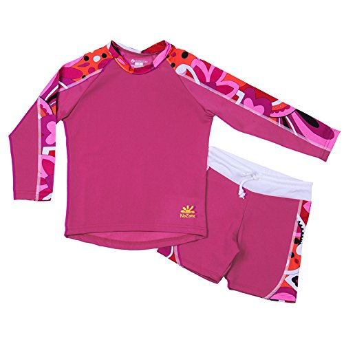 Nozone Laguna Sun Protective 2-Piece Girls Swimsuit in Fuchsia/Brandie, Size 2