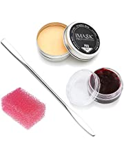 CCbeauty Special Effects Stage Makeup Wax (1.16 Oz)  Wound Moulding Scars Kit with Spatula,Scab Blood(0.63Oz) + Pink Stipple Sponge