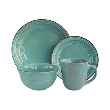American Atelier 16 Piece Madelyn Blue Dinnerware Set, Aqua