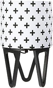 Abajur Luminária de Mesa, Carambola Luminárias, Preto/Branco