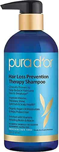 PURA D'OR Hair Thinning Therapy Shampoo for Prevention, Made with Organic Argan Oil & Biotin, 16 Fluid Ounce