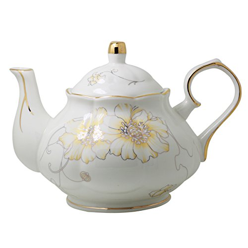 Jomop Ceramic Teapot Floral Design White 4 Cups 850ml (White)
