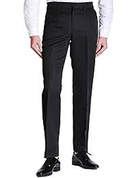 Men's Straight Leg Solid Plain-Front Dress Pants