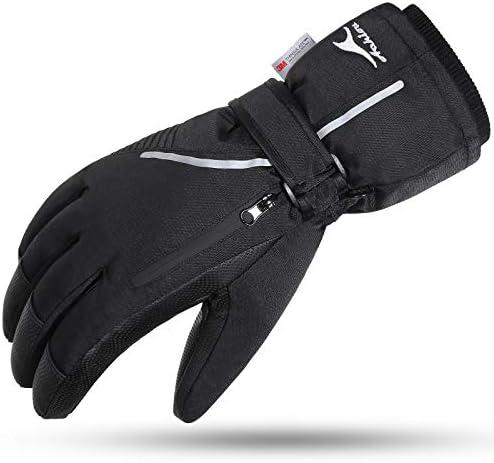 Achiou Ski Snow Gloves Waterproof Touchscreen Winter Warm for Men Women with Portable Pocket