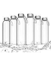 LA VIDA AQUA Glasflaschen 550ml 6er Set - Trinkflasche Aus Glas Auch Für Kinder BPA-frei Spülmaschinenfest Auslaufsicher - Water Bottle Wasserflasche für Smoothie Flasche & Sport Trinkflaschen