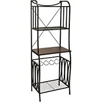 Better Homes and Gardens Mixed Material Bakers Rack, Mahogany Finish