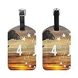 Set of 2 Luggage Tags American Flag Bald Eagle