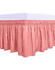 Easy-Going Wrap Around Ruffled Bed Skirt with Adjustable Elastic Belt-Easy to Put On, Wrinkle Free Bedskirt Dust Ruffles, Bed Frame Cover for King and Queen Size Beds, White