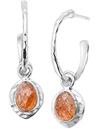 'Sunstone' Removable Natural Sunstone Charm Hoop Earrings in Sterling Silver
