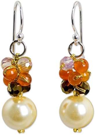 NOVICA Carnelian Silver Plated Beaded Hook Earrings 'Full Moon in Yellow'