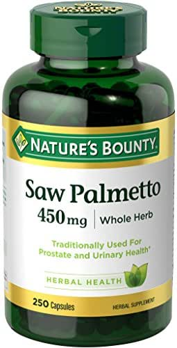 Nature's Bounty Saw Palmetto Pills and Herbal Health Supplement, Supports Urinary Health, 450mg, 250 Capsules