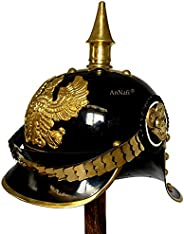 AnNafi WW I& WWII German Prussian Pickelhaube Helmet Brass Accents Imperial Officer Spike Helmet Pickelhau