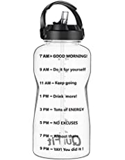 QuiFit 64 Oz Motivational Water Bottle - with Straw & Time Marker BPA Free Half Gallon Large Water Jug Leak-Proof Durable for Fitness Outdoor Enthusiasts