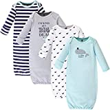 Hudson Baby Unisex Cotton Gowns, Handsome Whale, 0-6 Months