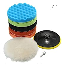 "7Pcs 5/6/7"" Sponge Polishing Waxing Buffing Pads Kit Set Compound Auto Car Polisher + M14 Drill Adapter Kit (7"")"